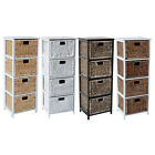 LOXLEY 4  RATTAN WICKER TALLBOY DRAWER WOODEN STORAGE CHEST - Choice of Colours