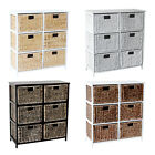 LOXLEY 6  RATTAN WICKER TALL DRAWER WOODEN STORAGE CHEST - Choice of Colours