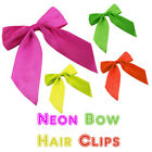 NEW NEON HAIR BOWS CLIP ON FANCY DRESS HEN PARTY DANCE ACCESSORIES 70'S 80'S