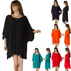 New Ladies Long Tunic layered Top  Blouse short sleeve Plus Size 18 20 22 24 26