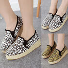 Ladies Thick Sole Leopard Printed Creepers Espadrilles Slip On Plimsolls Shoes