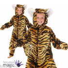 BOYS GIRLS CHILDS TIGER STRIPED DELUXE ANIMAL ONESIE ZOO FANCY DRESS COSTUME