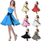 FREE SHIPPING Strapless Cocktail Bridesmaids Party Evening Prom Short Mini Dress