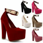 Womens Ladies Concealed Platform Block Heel Party Shoes Ankle Strap Sandals Size