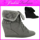 NEW LADIES  FOLD OVER HI TOP LACE UP WEDGE  ANKLE SNEAKERS SHOES SIZES UK 3-8