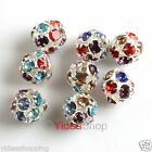 20x Silver Plated Colorful Rhinestone Ball Beads 8mm fit Necklace Bracelet Chain