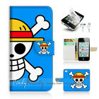 ( For iPhone 4 / 4S ) Wallet Case Cover! One Piece Blue Sign P0150