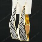 New 6-12Pairs Big Rhombus Zebra Frost Gold Hoop Earrings Wholesale Jewelry Lots