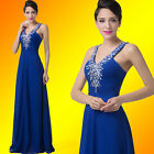 GK Sleeveless Blue Chiffon Formal Party Bridesmaid Evening Long Prom  Gown Dress