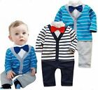 Baby Boys Stripe Bow Tie Christmas Party Romper Pants Jumpsuit 1PCS 3-18M Outfit