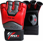 RDX Leather UFC MMA Grappling Gloves Fight Boxing Muay Thai Punch Bag Mitts YL