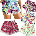 Pom Pom High Waisted Tassel Tribal Print Gym Beach Casual Shorts S M L