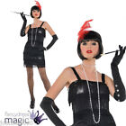 LADIES SEXY BLACK FLASHY FLAPPER CHARLESTON 1920S 20S FANCY DRESS COSTUME OUTFIT
