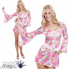 New Womens Sexy Pink 60s 1960s Gogo Girl Chick Hippie Fancy Dress Costume Outfit