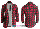 Womens Red Tartan Plaid Blazer Ladies Check Print Open Front Collar Jacket Coat