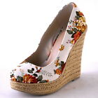 NEW WOMENS NATURAL FLORAL PRINT LINEN ROUND TOE HIGH WEDGE PUMP