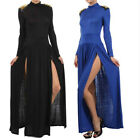 Maxi Dress S M L Spike Studded Shoulder Turtleneck Slit Thigh Split Long Sleeve