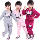 Baby Girls Kids Cotton Bowknot Hoodie SportsWear Tracksuit Clothes Pants Outfit