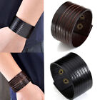 Punk Genuine Leather Men Womens Wrap Bracelet Wristband Bangle Cuff Jewelry Gift