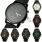 Fashion Mens Black Silicone Rubber Luxury Sport Analog Quartz Clock Wrist Watch