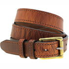 Mens 1 1/4 Rustic Hot Dipped Tan Harness Leather Belt Faux-Stitching Nickel Free