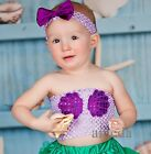 Halloween Xmas Baby Girls Ariel Princess Shell Lavender Crochet Tube Top Costume