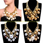 Fashion Gold Chain Multicolors Pearl Crystal Statement Choker Pendant Necklace