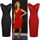 Womens Ladies Sexy V-Neck Bodycon Slim Cocktail Party Evening Dresses Size 8-16