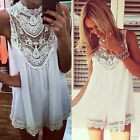 Fashion Women Chiffon Lace Celeb Beach Hollow Out Evening Party Vest Shift Dress