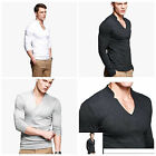 Charmant Homme V-cou T-shirt Mens Tee Tops Cotton V-Neck Long Sleeves T-Shirts