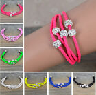 Leather Braided Wristband Cuff Magnetic Buckle Crystal Bead Bracelet,1Pc