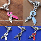 5Pcs Enamel Awareness Survivor Ribbon European Dangle Charm Beads Fit Bracelets