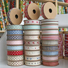 East Of India Ribbons Polka Dot Gingham Printed 3m Metre Ribbon Various Designs