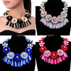 Fashion Gold Chain Multicolors Resin Cluster Flower Statement Choker Necklace