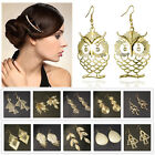 Extravagant Gold Owl Leaves Geometric Dangle Pierced Big Chandelier Earrings