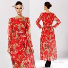 Occident Women Ladies New Long Sleeve Owl Floral Printed Empire Waist Maxi Dress