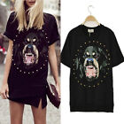Neuf Fille Femme T-shirt Crew Neck women Rivet Vicious Dog Pattern T-Shirt Tops