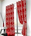 Pair of Zurich Luxury Fully Lined Eyelet Curtains Red/Silver Heavy Quality