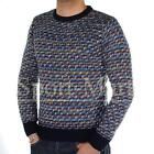 Mens D-Struct Sooty Weave Print Knitted Jumper Sweater Mens Size