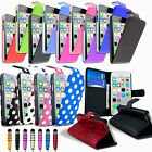 Leather Flip Wallet Case Cover For NEW iPhone 5S Free Screen Protector & Stylus