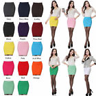 New Ladies Womens Candy Color Stretch Bodycon Pencil A-Line Mini Party Skirt