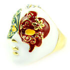 chinese opera mask ring alloy enamel golden color size available RN-596