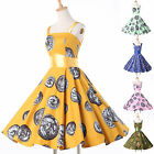 Vintage Womens 1950s Retro style Housewife Rockabilly Swing Party Evening Dress