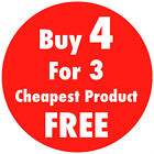 Red 'Buy 4 For 3' Promotional Price Stickers Sticky Labels 25 30 35 or 45mm