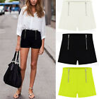 Double Zipper Shorts High Waisted Chiffon Slim Hot Mini Hot Pants Trousers M-XL