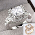 Fashion Solitaire Engagement Wedding Ring 18KGP Rhinestone Crystal Size 5.5-10