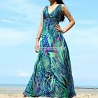 Maxi Prom Dress Party Summer Jersey Coast Peacock Plus Size Long XL 2X 3X 4X 5X