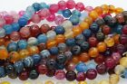 "15"" Strand 8mm Nice Natural Gemstone Faceted Round Agate Spacer Beads Jewelry"