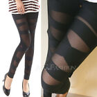 New Sexy Hot Punk Gothic Ripped Torn Slashed Stretch Leggings Tights Black