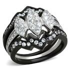 Stainless Steel Marquise CZ Wedding Engagement 3 PC Women's Black Ring Band Set